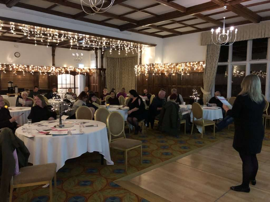 MJR Events Wedding Club at Sprowston Manor Hotel. Wedding Industry Professionals listening to a guest speaker