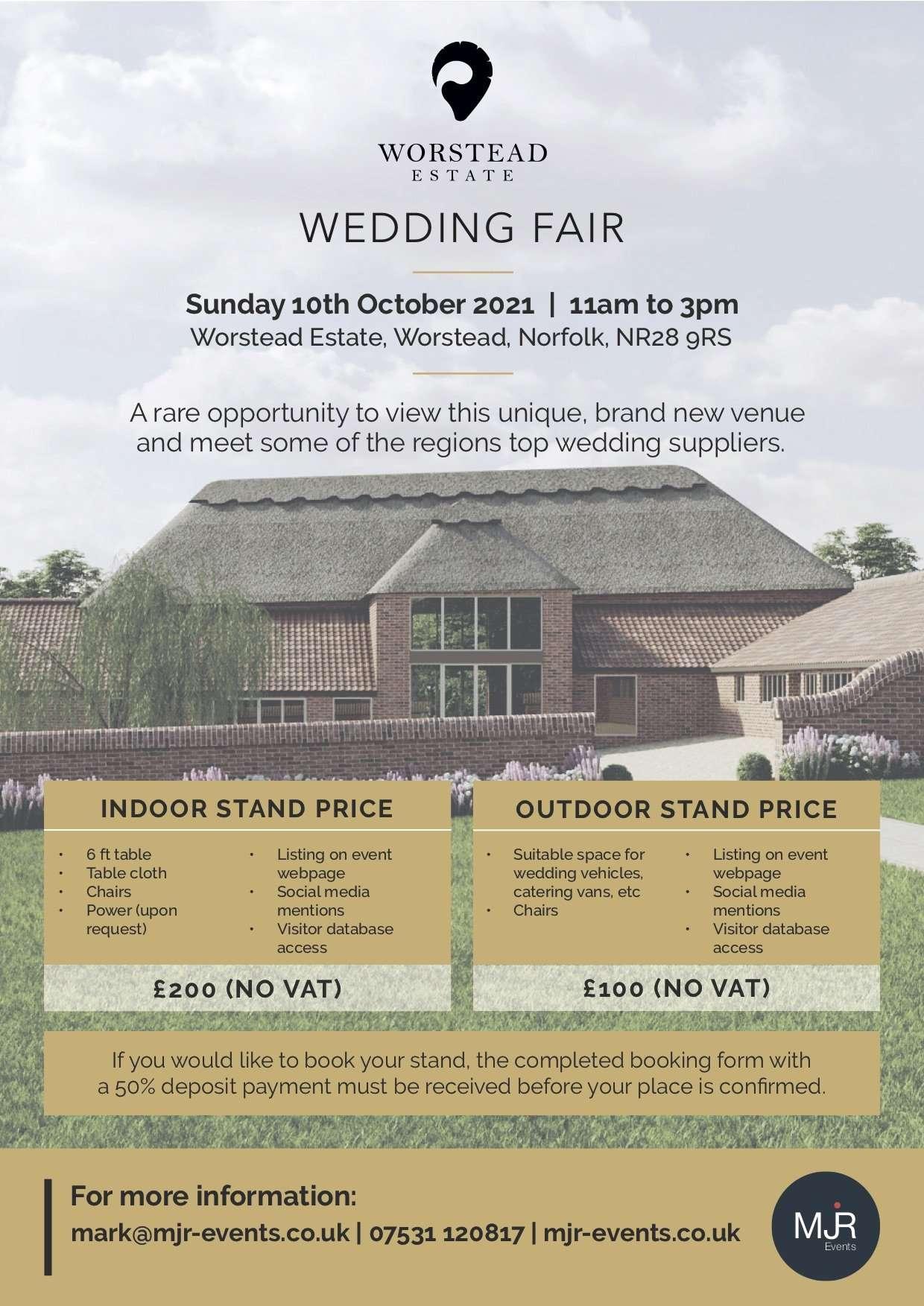 Worstead Estate in Norfolk Information card for their wedding fair